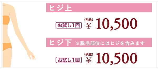 ヒジ上 お試し1回 ¥10,500(税抜) ヒジ下 ※脱毛部位にはヒジを含みます お試し1回 ¥10,500(税抜)