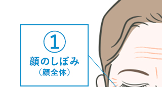 ①顔のしぼみ(顔全体)